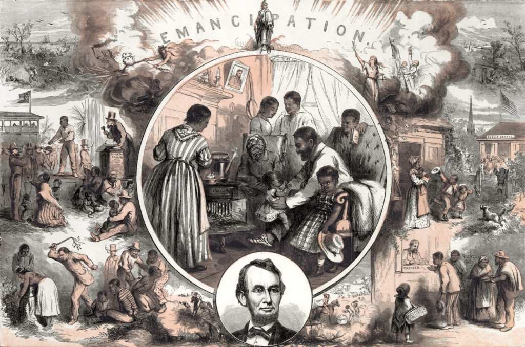 Illustrated print by Thomas Nast depicting life before and after emancipation.  Source: Keith Lance/Getty Images