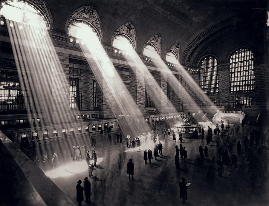 Sunlight streams through the windows in the concourse at Grand Central Terminal in New York City in 1954.