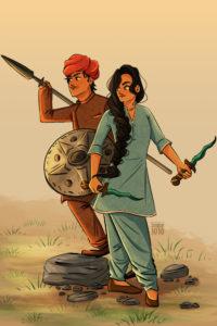 Drawing of Gul & Cavas, the main characters in The. Wrath of Ambar duology done by Aishwarya Tandon  Source: Aishwarya Tandon & FierceReads.com